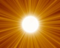 Sun 01. Beaming yellow sun with lights Stock Image