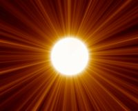 Sun 02. Beaming yellow sun with lights Stock Photography