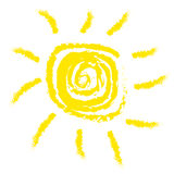 Sun. Simplest sun illustration (child painting stylization) isolated over white background Vector Illustration