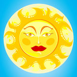 Sun. Vector illustration depicting the sun with a human face Stock Photography