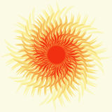 Sun. Bright, hot sun, a red-orange-yellow tones on a white background. Illustration Royalty Free Stock Images