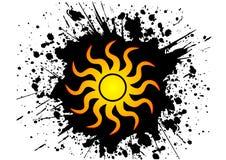 Sun. In black grunge background eps Royalty Free Stock Photo