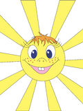 The sun. The smiling stylised sun in the sky Royalty Free Stock Image