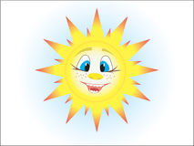 The sun. The smiling stylised sun in the sky Stock Images