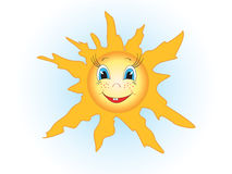 The sun. The smiling stylised sun in the sky Stock Photos