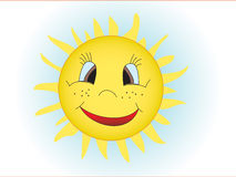 The sun. The smiling stylised sun in the sky Royalty Free Stock Photos