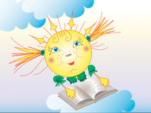 The sun. The bright animated sun reads the book Stock Photography