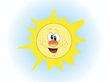 The sun. The smiling stylised sun in the sky Royalty Free Stock Photo