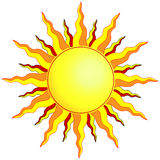 Sun. Illustration of the sun with wavy pointed sunrays of yellow, orange and red Royalty Free Stock Photo