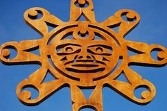 Sun. Symbol on N Vancouver Park Gate - Native Art  BC, Canada Royalty Free Stock Image