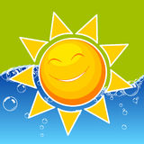 Sun. Happy sun icon , sea and green background Royalty Free Stock Photography