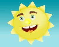 SUN. The cheerful sun on a blue background Stock Photography