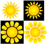 The sun. Two types of sun icons on white and black backgrounds Stock Photo