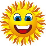 Sun. Smiling sun. Isolated on withe background Stock Image