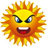 Sun. Angry sun. isolated on withe background Royalty Free Stock Images