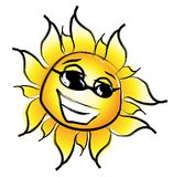 Sun. Laughing with glasses vector illustration Royalty Free Stock Photo