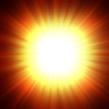 Sun. A star burst or lens flare over a black background. It also looks like an abstract illustration of the sun Stock Photo