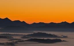 Sun. Sun rises in the Cantabrian Range Stock Photos