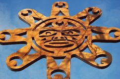Sun. Symbol on N Vancouver Park Gate - Native Art  BC, Canada Stock Photo