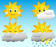 Sun. In different weather conditions: ny, cloudy, rain, thunder and lightning Stock Photo