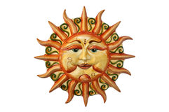 Sun. Made ceramic art work depicting a smiling sun Royalty Free Stock Photography