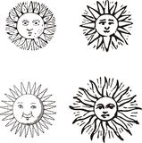 Sun. Different suns, also corel draw an ail version stock illustration