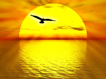 The sun. Illustration about yellow sun going down the ocean for sunset stock illustration