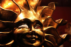 Sun. The closeup of a typical mask of the sun (Venice stock image