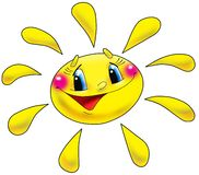 Sun. The cheerful sun with the big eyes Stock Image