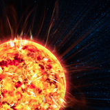 The Sun. On the space background Royalty Free Stock Photography