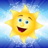 Sun. Vector illustration of sun - blue background Royalty Free Stock Photos