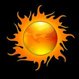Sun. Surrounded by hot flames Royalty Free Stock Photos