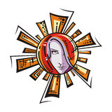 Sun. Decorative graphic sun with female face Royalty Free Stock Images