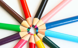 Sun. Colored pencils isolated in white royalty free stock photo