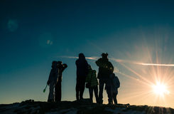 After the sun. On top of the mountain behind the setting sun Royalty Free Stock Images