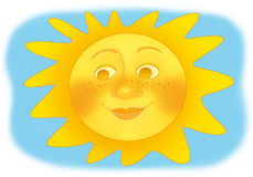Sun. Funny yellow sun on the blue sky Stock Image