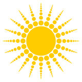 Sun. Radiating sun on white background Stock Images