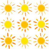 Sun. Isolated on white background, vector illustration