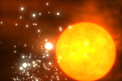 Sun. With lots of stars in universe Royalty Free Stock Photos