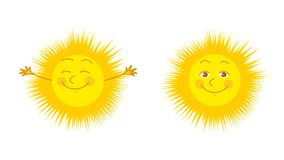Sun. Two bright  illustration of smiling and happy sun Royalty Free Stock Photo