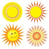 Sun. Illustration of a set of sun isolated over white background Royalty Free Stock Photos