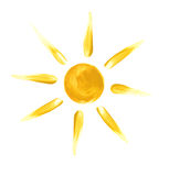 The Sun. The symbolical image of the yellow sun with beams – a water colour illustration Stock Photos