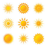 Sun. Vector Sun Icons on White Background Royalty Free Illustration