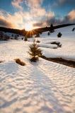 Sun abajo sobre el río de la montaña en invierno Foto de archivo