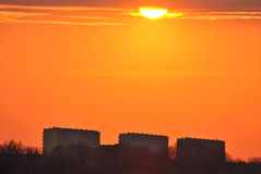 Sun above the buildings Royalty Free Stock Photo