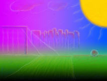 Sun above field. A drawing of the sun in a purple sky above a green field Stock Photos