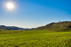 Sun above the green valley Stock Photography