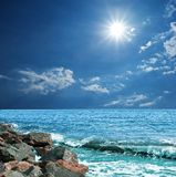 Sun above a sea Royalty Free Stock Images