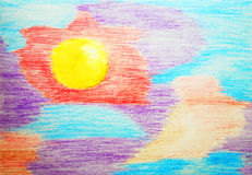 The Sun. Abstract color watercolor pensil painting. Stock Image