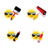 Sun with accessories for paint job vector illustration Royalty Free Stock Photos